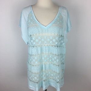 Chico's Aqua Lace T shirt size 3
